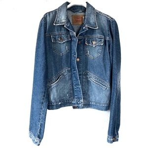 Levi's Blue Distressed Denim Jean Jacket Medium
